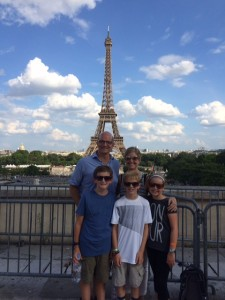 Kerry and Taylor in Paris this summer with their new family.