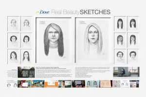 Dove' Real Beauty Sketches comparing one self-image to a stranger's perception.